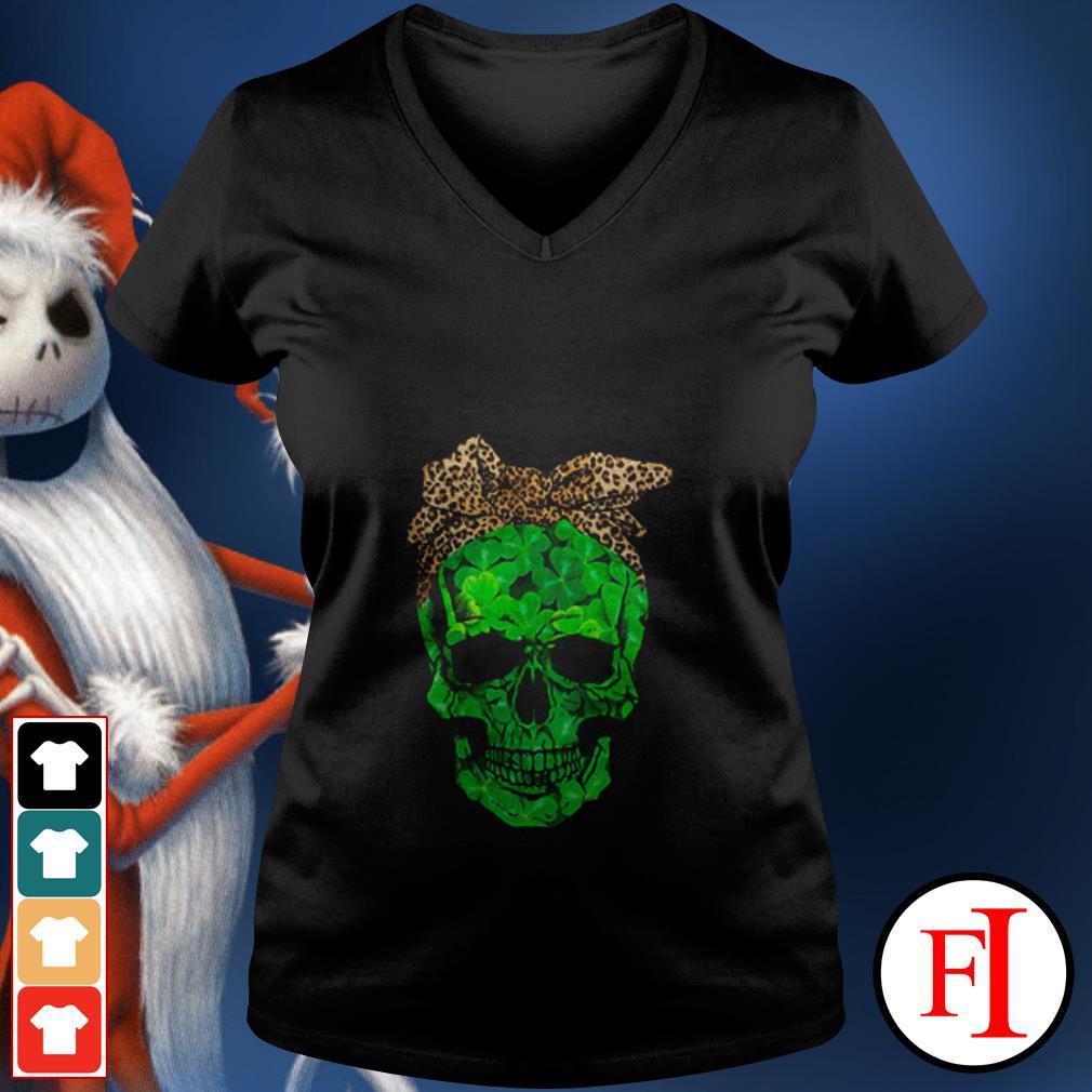 Skull Leopard St Patrick Day V-neck t-shirt