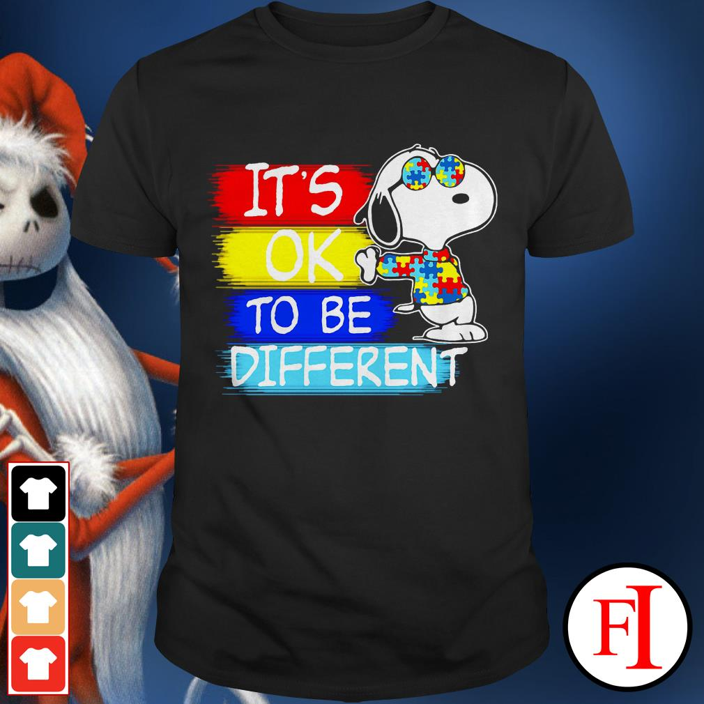 Autism awareness Snoopy it's ok to be different IF shirt