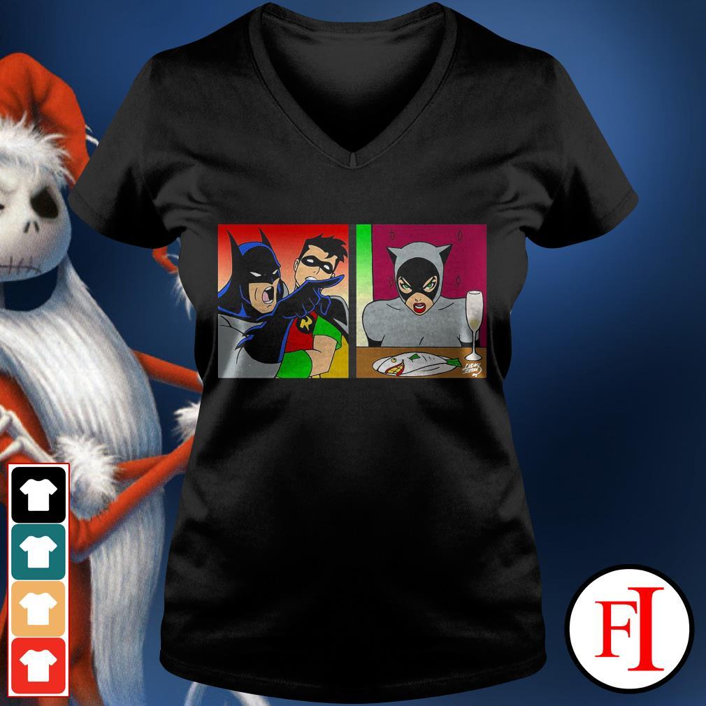 Batmans yelling at Catwoman IF V-neck t-shirt
