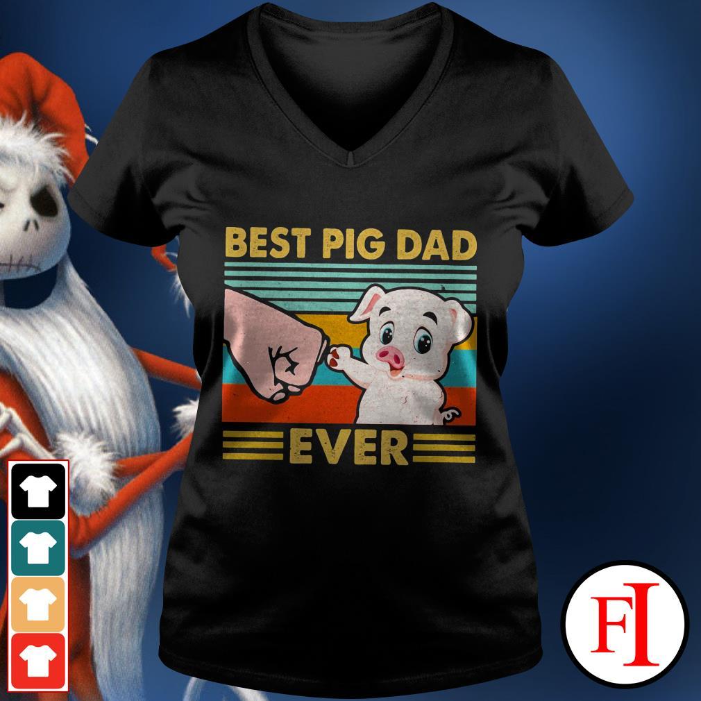 Best pig dad ever sunset IF V-neck t-shirt
