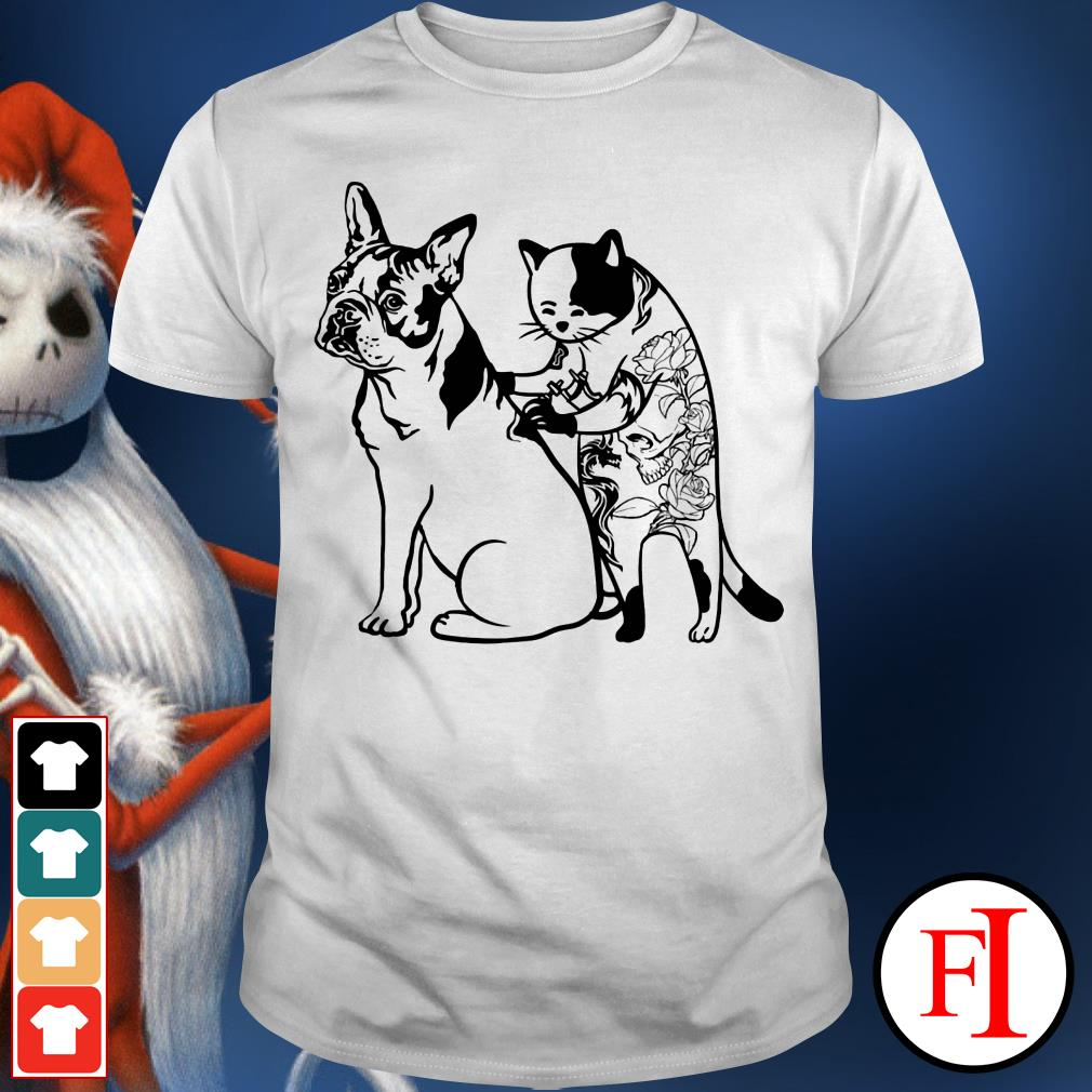 Boston Terrier and black cat tattoos IF shirt