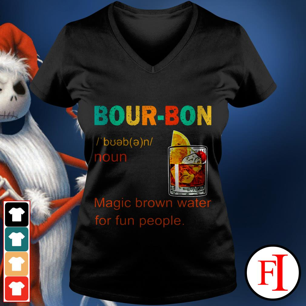 Bourbon magic brown water for fun people sunset IF V-neck t-shirt