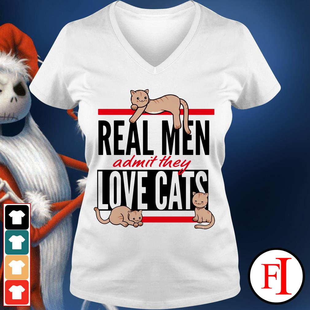 Cats Real men admit they love cats IF V-neck t-shirt