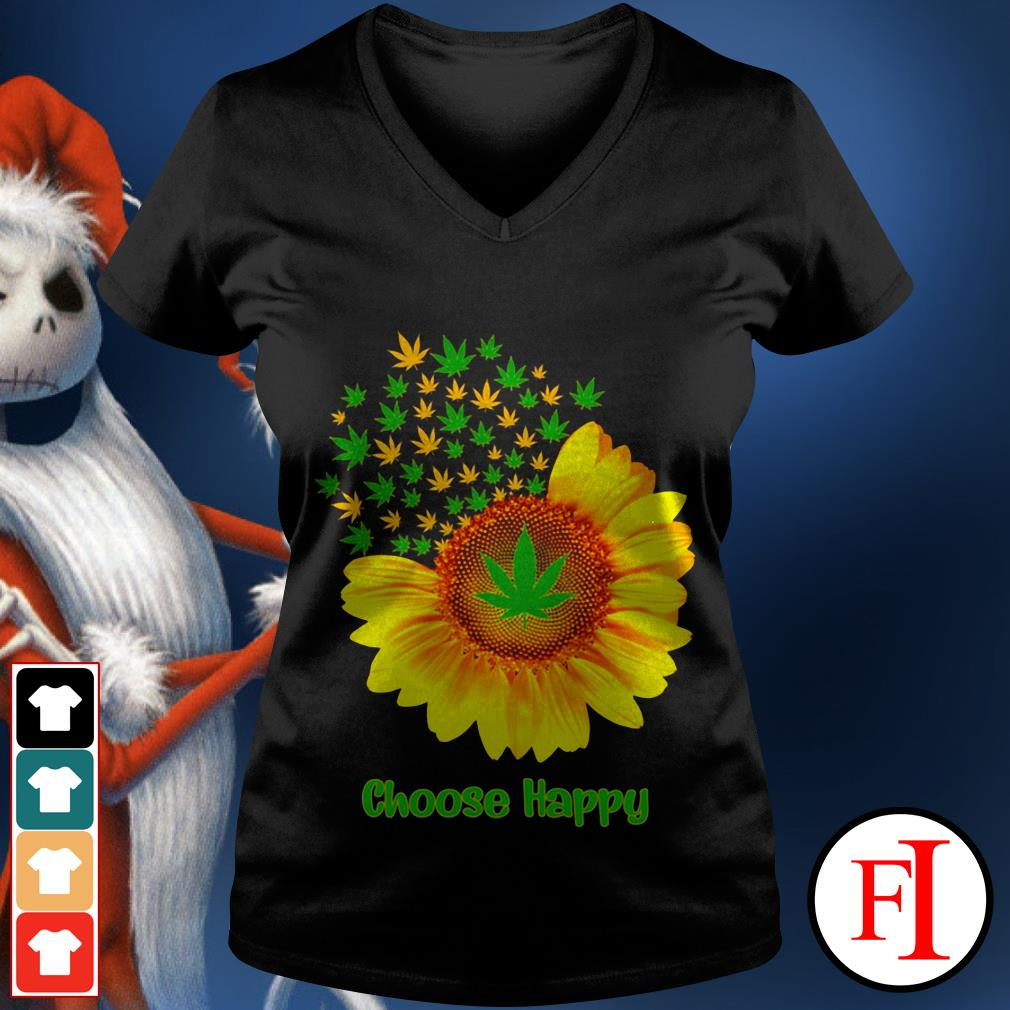 Choose happy with Sunflower V-neck t-shirt