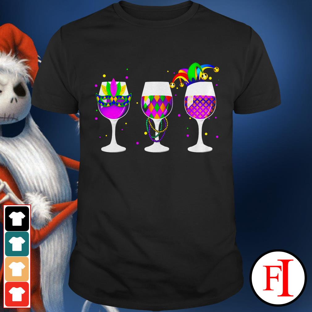 Color Mardi Gras glass of wine IF shirt