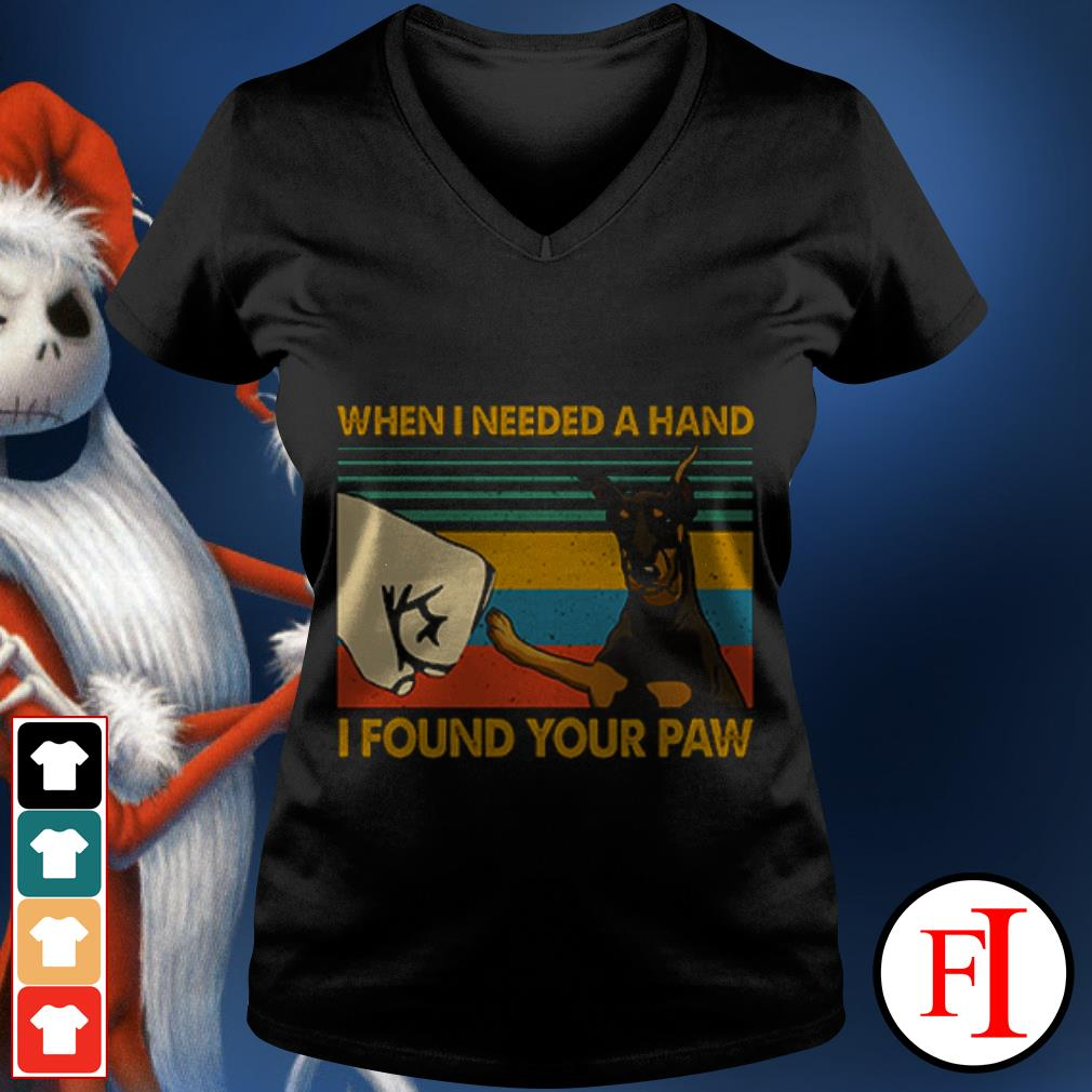 Dog Doberman In my darkest hour when I needed a hand I found your paw sunset IF V-neck t-shirt