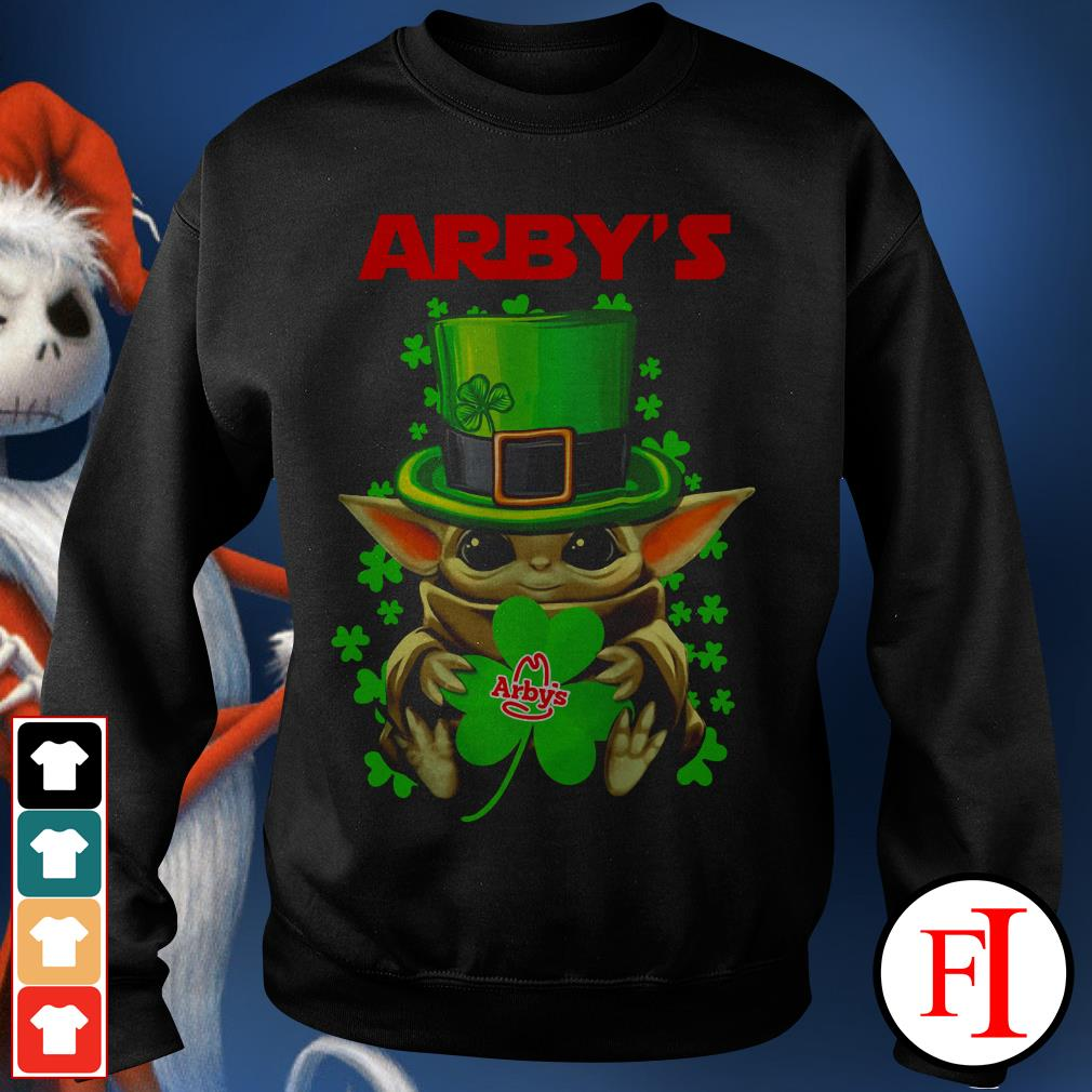 Green Arby's Baby Yoda St Patrick's day Sweater