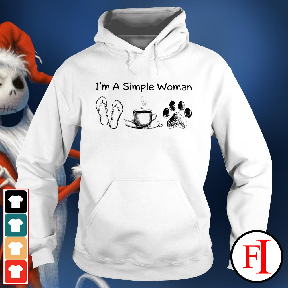 I'm a simple woman I love coffee flip flop and dog Hoodie