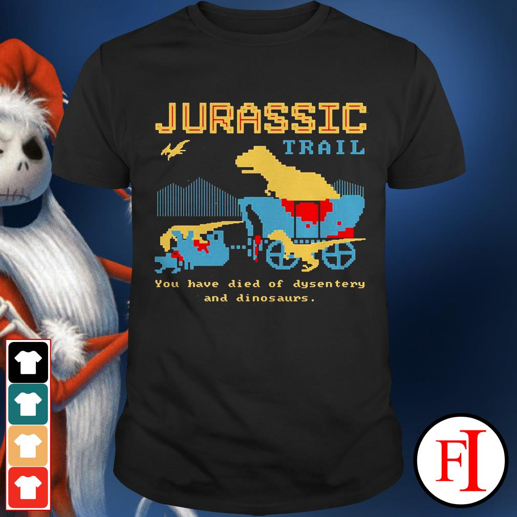 Jurassic trail you have died of dysentery and dinosaurs sunset IF shirt