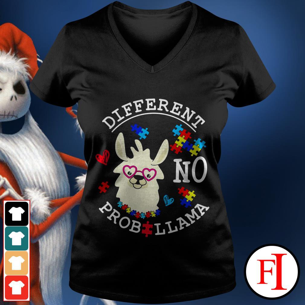 Llama Autism different no Prob V-neck t-shirt