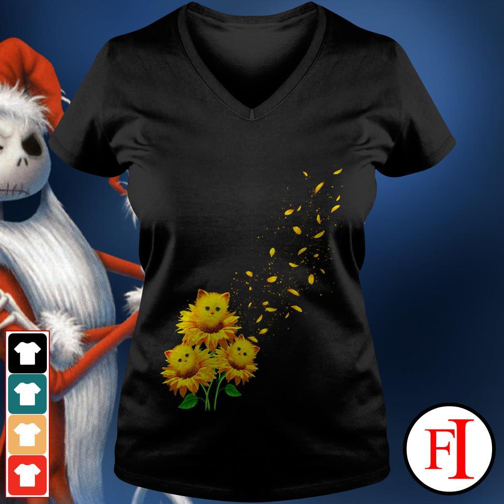 Love Cat and sunflower V-neck t-shirt