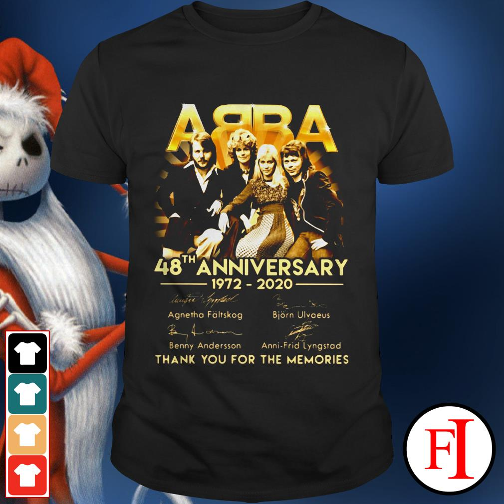 Love date Abba 48th anniversary 1972-2020 signature thank you for the memories shirt