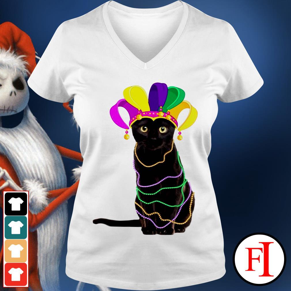 Lovely Black cat Mardi Gras IF V-neck t-shirt