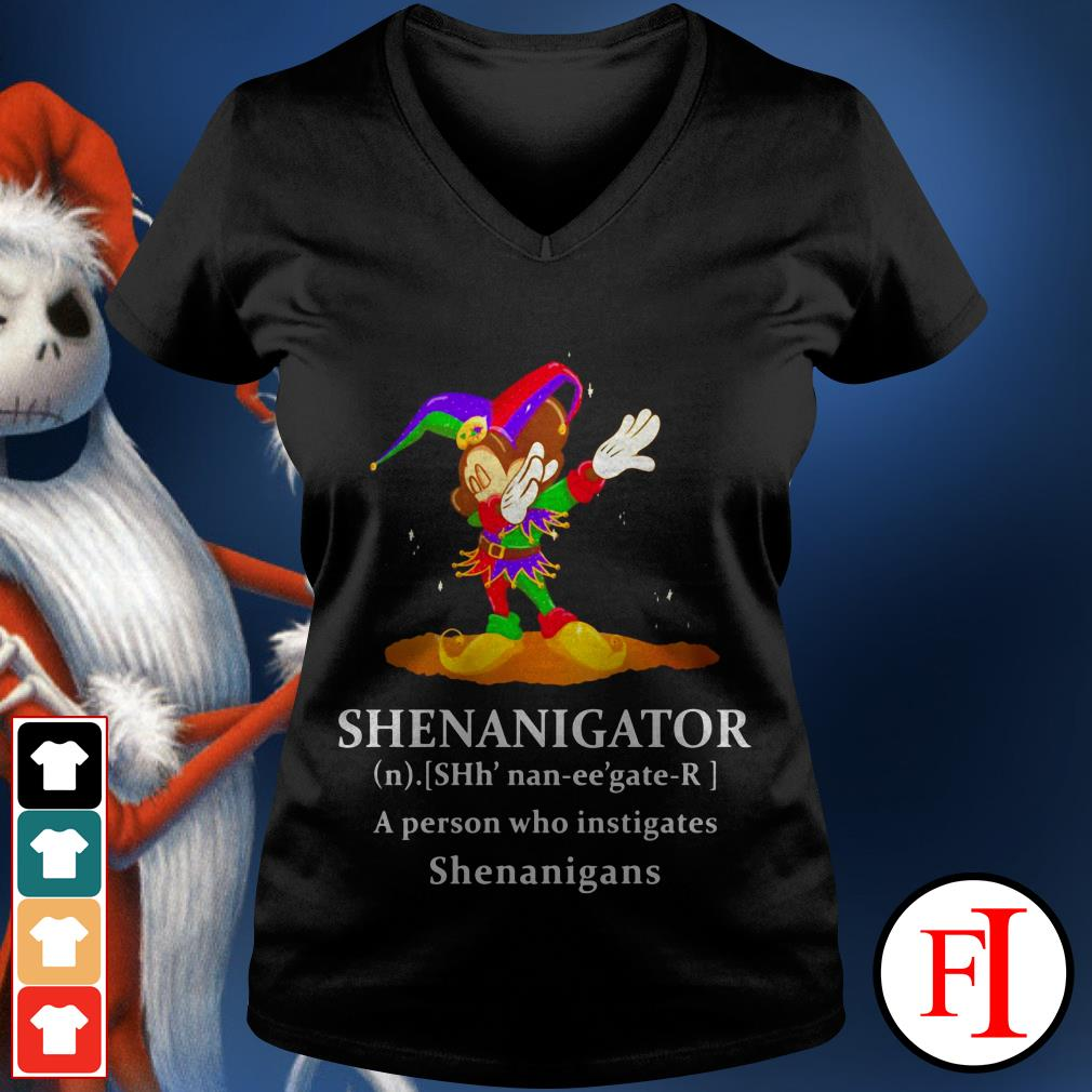 Lovely Mickey Mouse dabbing Shenanigator a person who instigates Shenanigans V-neck t-shirt