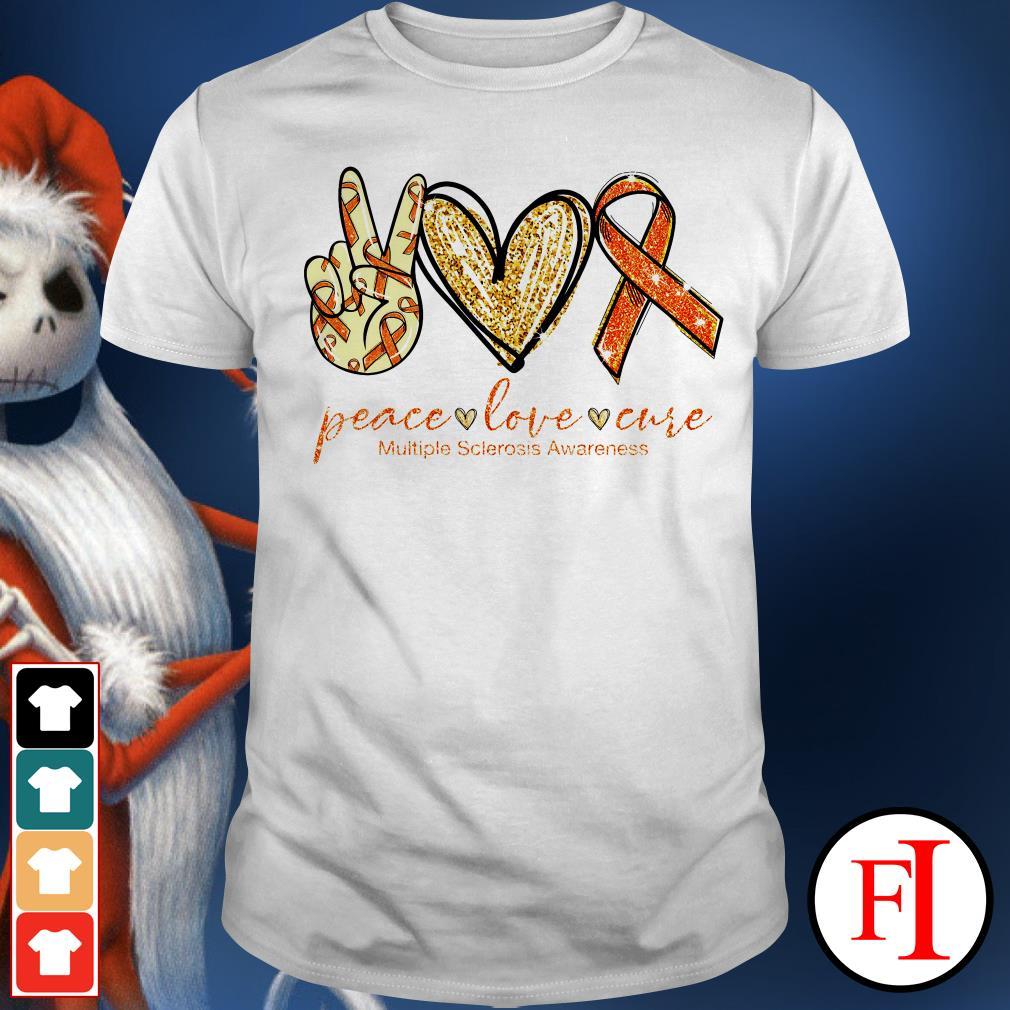 Lovely Peace love cure Multiple Sclerosis Awareness shirt