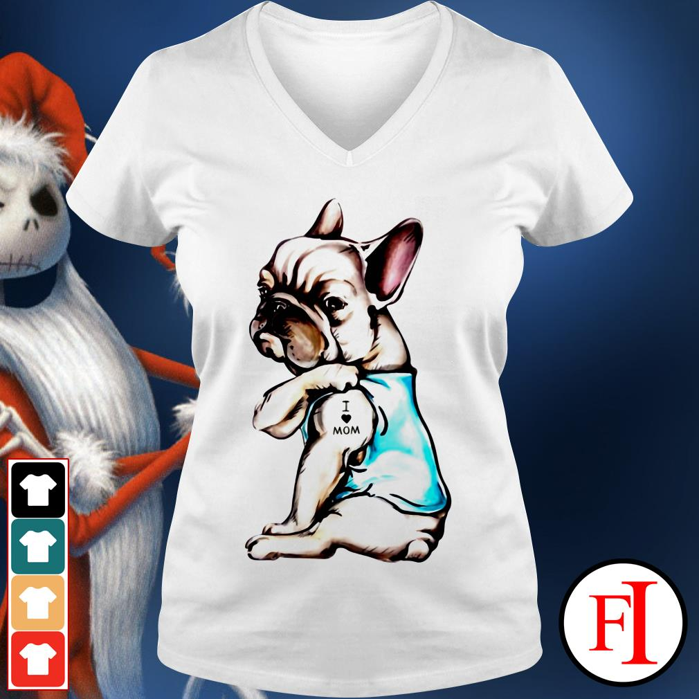 Lovely Pug dog I love mom V-neck t-shirt