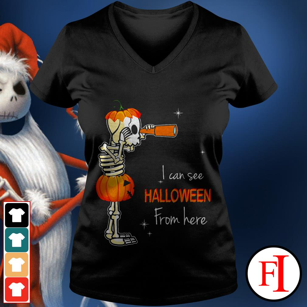 Official I can see Halloween from here IF V-neck t-shirt