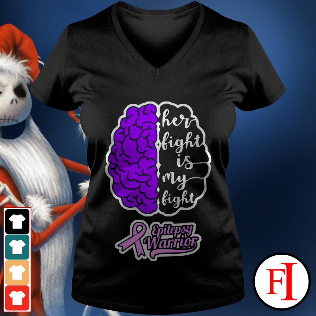 Purple Brain Cancer Her light is My light epilepsy warrior IF V-neck t-shirt