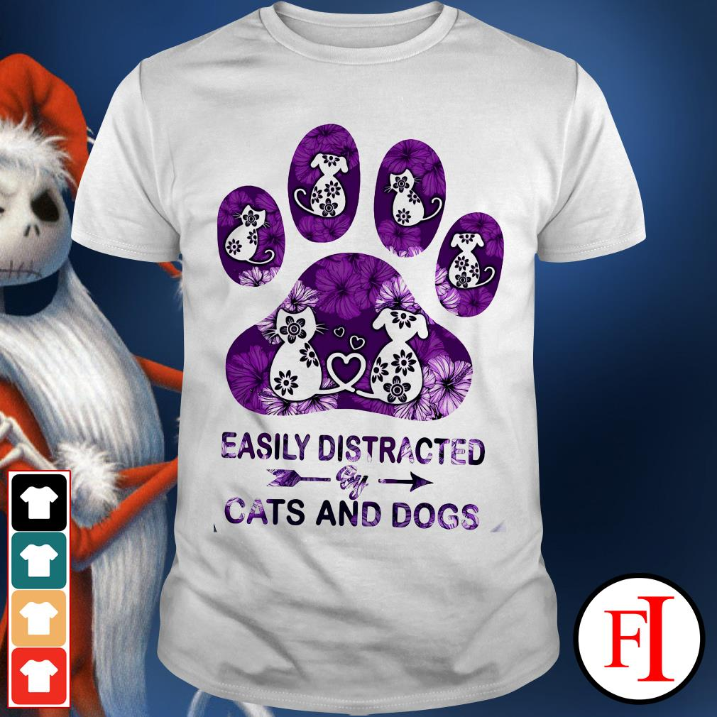 Purple paw easily distracted by Cats and Dogs shirt