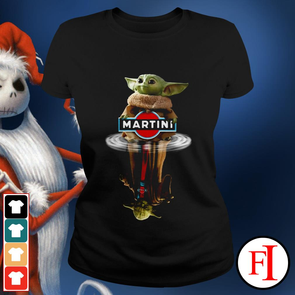 Yoda Martini Star Wars Baby Yoda reflection water Ladies tee