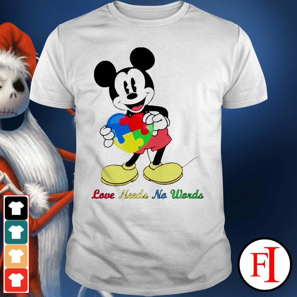 Autism heart Mickey mouse love needs no words shirt