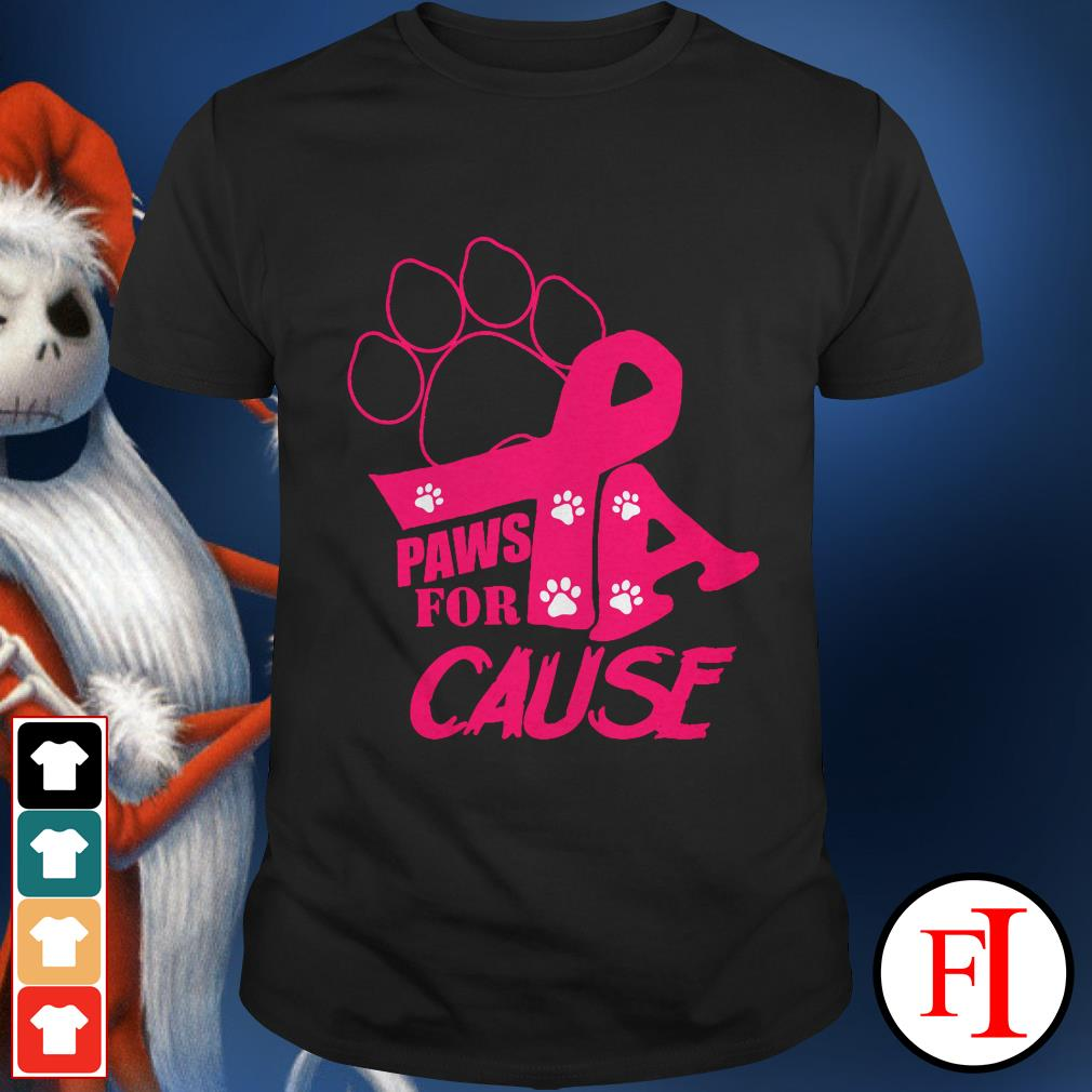 Breast cancer paws for a cause pink IF shirt