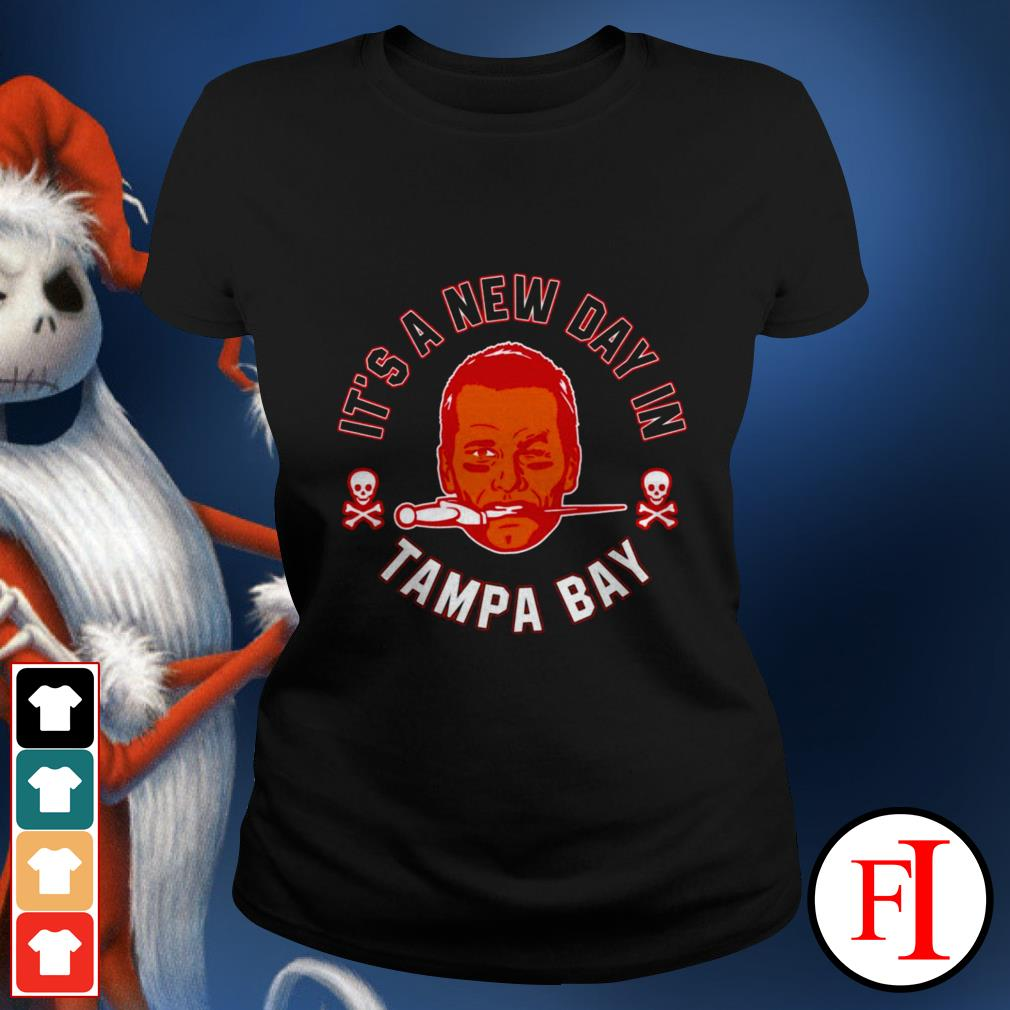 Buccaneers Brady it's a new day Tampa Bay love IF Ladies tee