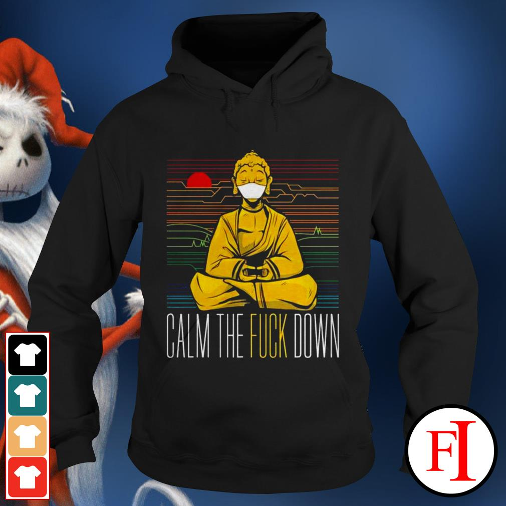 Buddha calm the fuck down yoga sunset love IF Hoodie