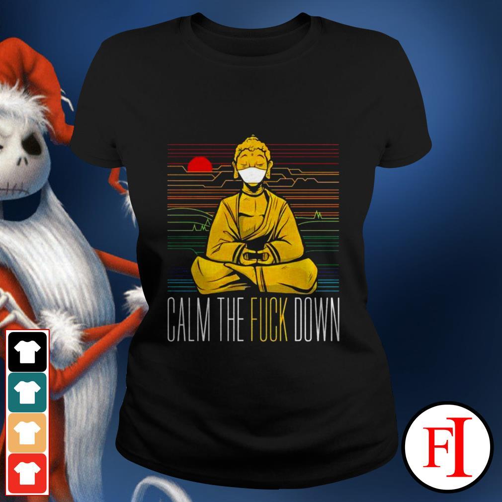 Buddha calm the fuck down yoga sunset love IF Ladies tee