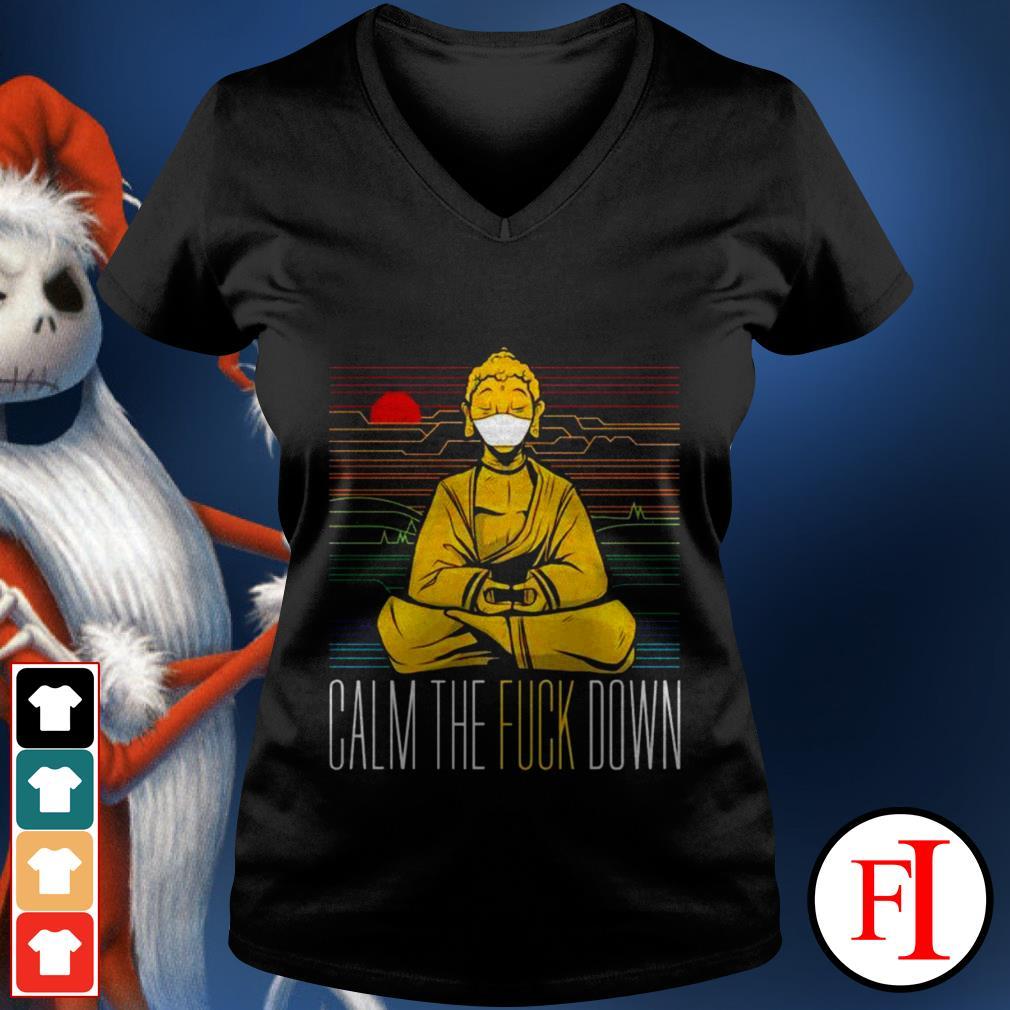 Buddha calm the fuck down yoga sunset love IF V-neck t-shirt
