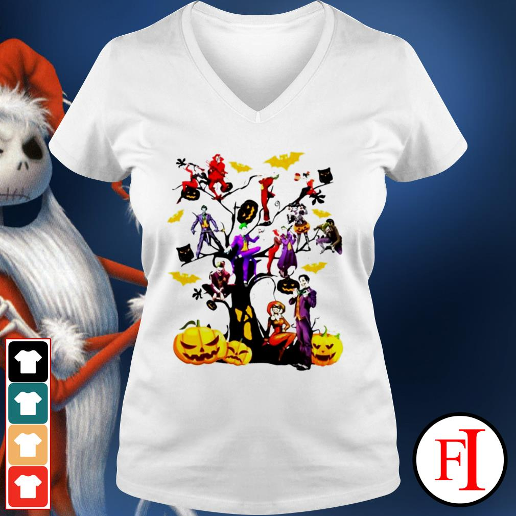 Halloween tree Joker and Harley IF V-neck t-shirt