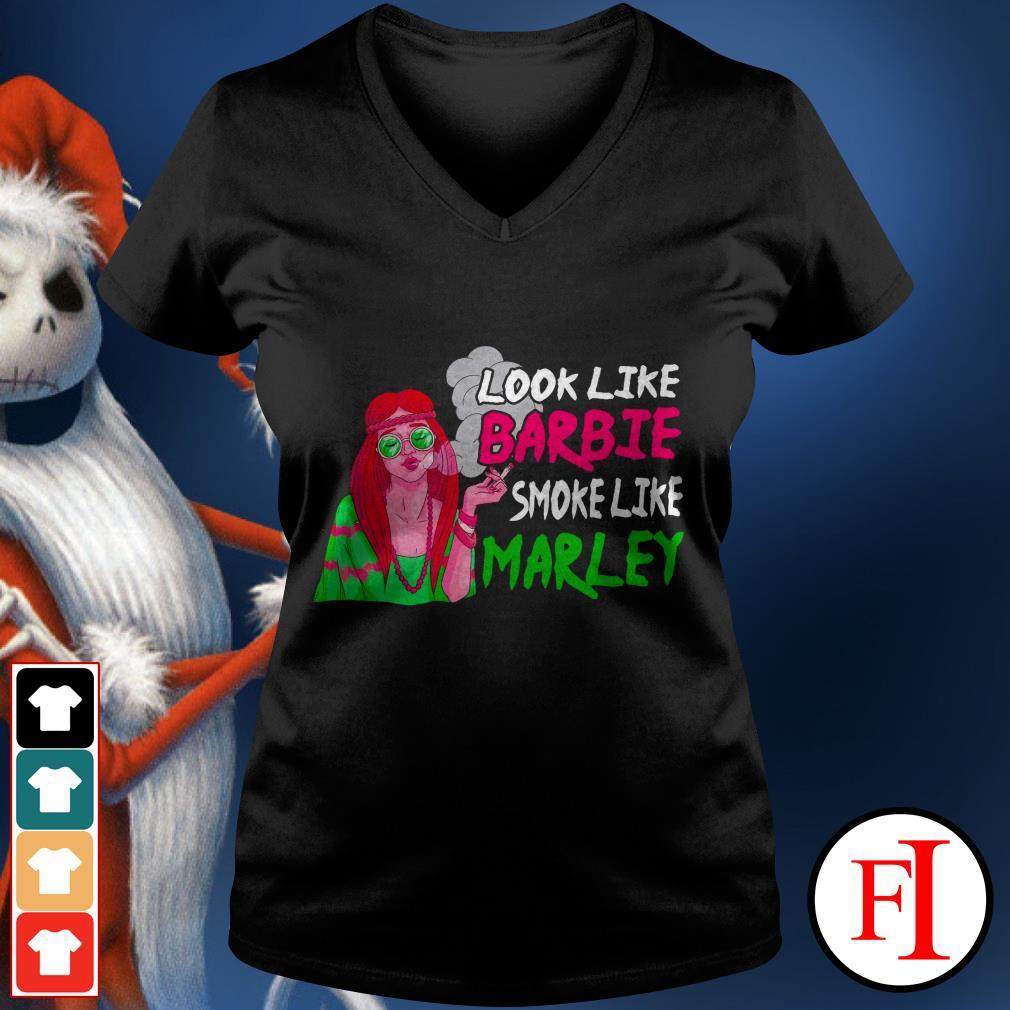 Love Look like barbie smoke like marley IF V-neck t-shirt