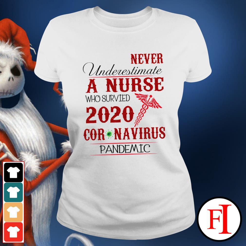 Never underestimate a nurse who survived 2020 Coronavirus pandemic like IF Ladies tee