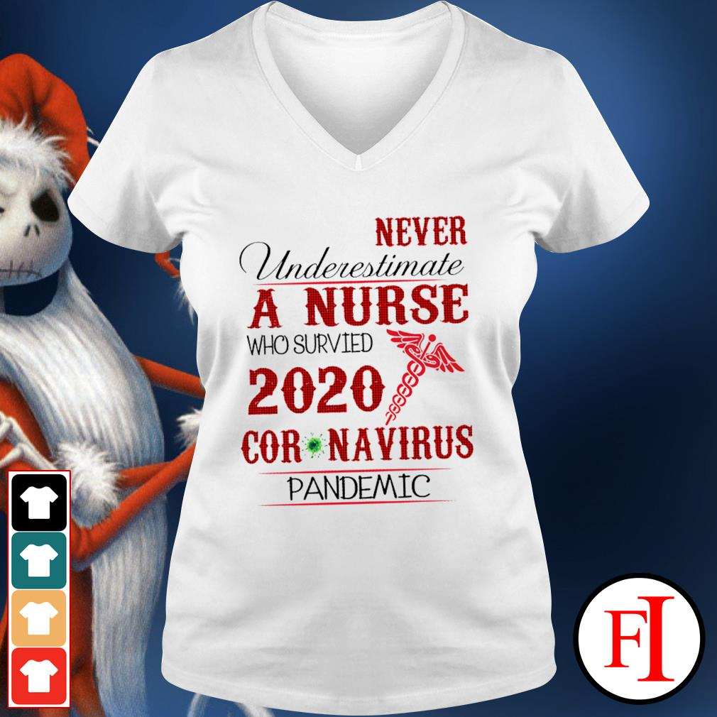 Never underestimate a nurse who survived 2020 Coronavirus pandemic like IF V-neck t-shirt