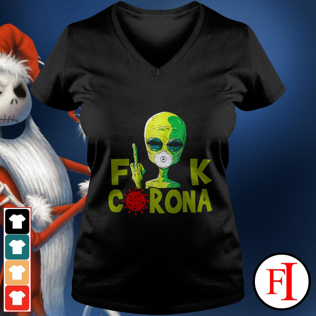 Official Alien Fuck Corona Covid 19 IF V-neck t-shirt
