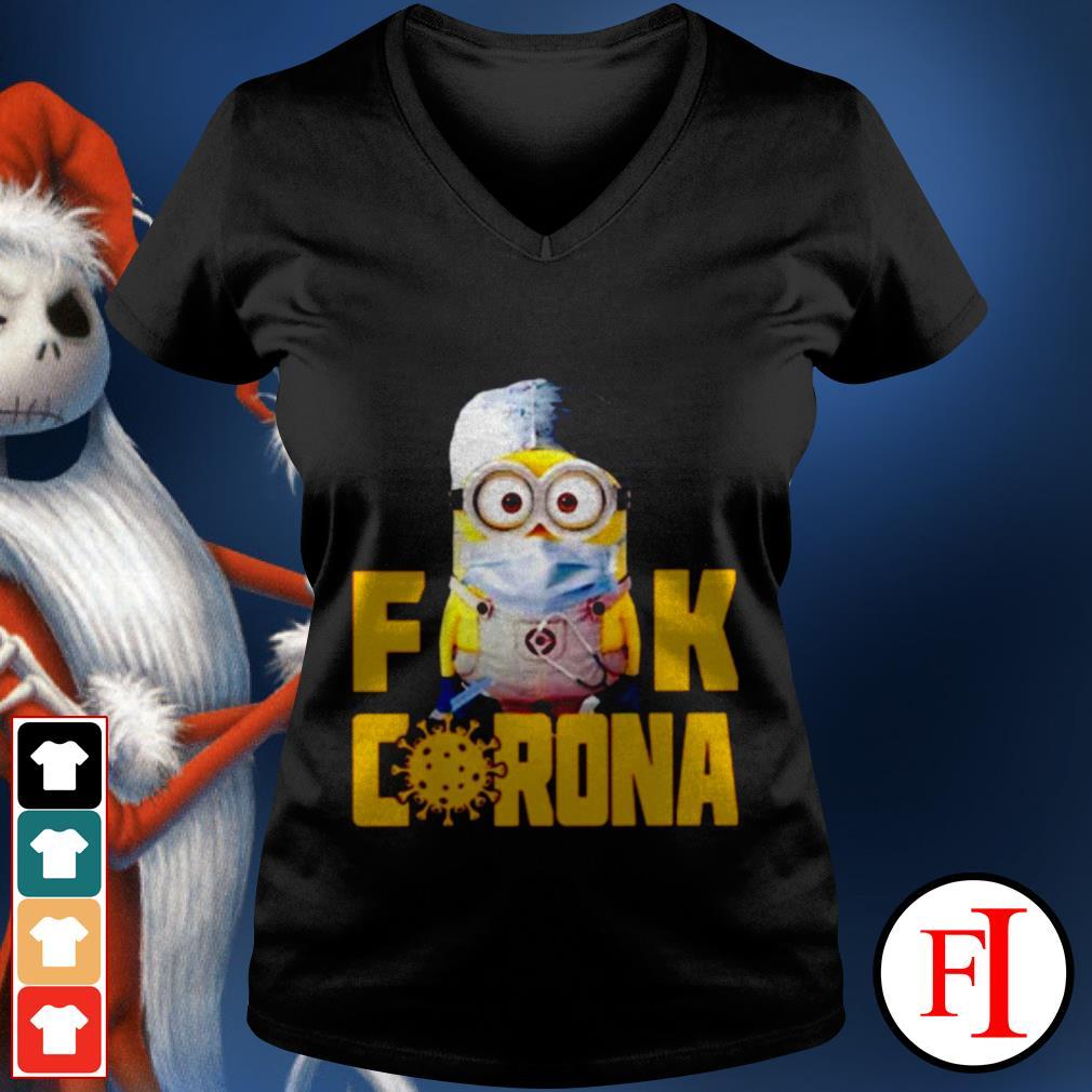 Official Minion Fuck Corona Covid 19 V-neck t-shirt