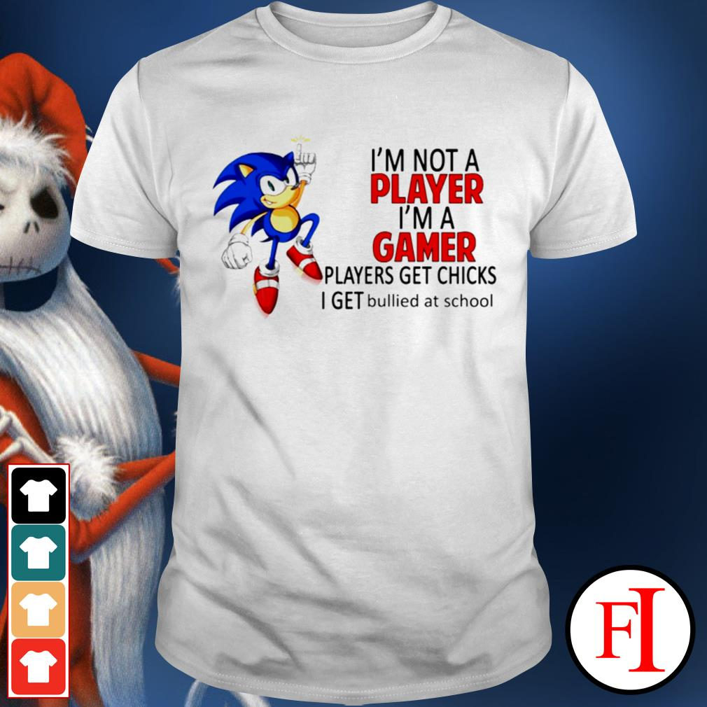 Sonic I'm not a player I'm a gamer players get chicks I get bullied at school love IF shirt
