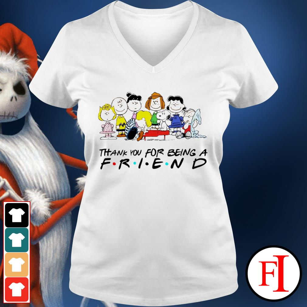 Thank you for being a friend Snoopy Charlie Brown and Friends Peanuts love IF V-neck t-shirt