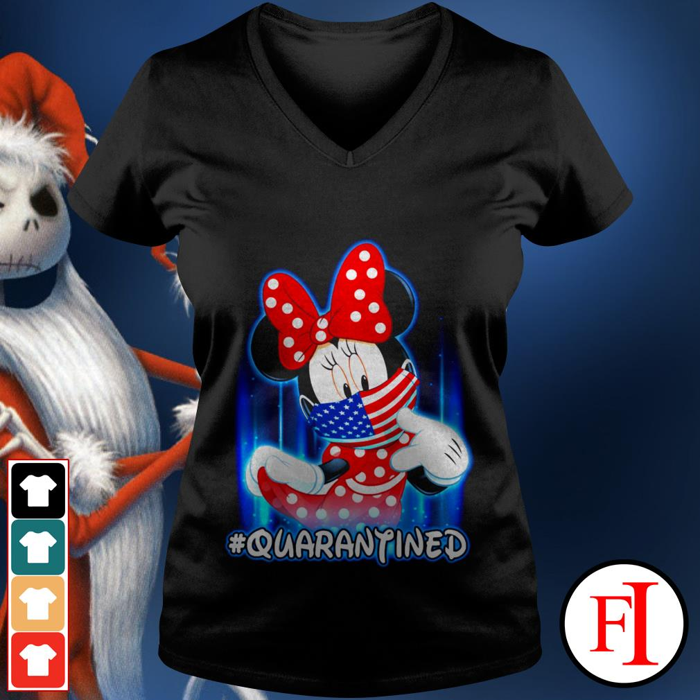 American #quarantined Covid-19 Minnie Mouse face mask V-neck t-shirt