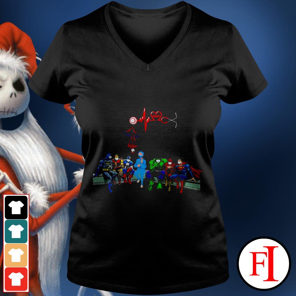 Best black Nurse and Superheroes corona V-nekc t-shirt