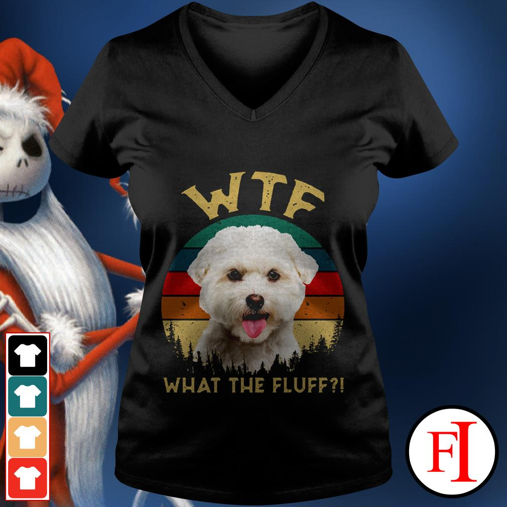 Bichon Frise what the fluff sunset love IF V-neck t-shirt