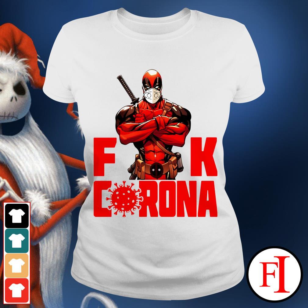 Black Deadpool fuck Corona red love IF Ladies tee