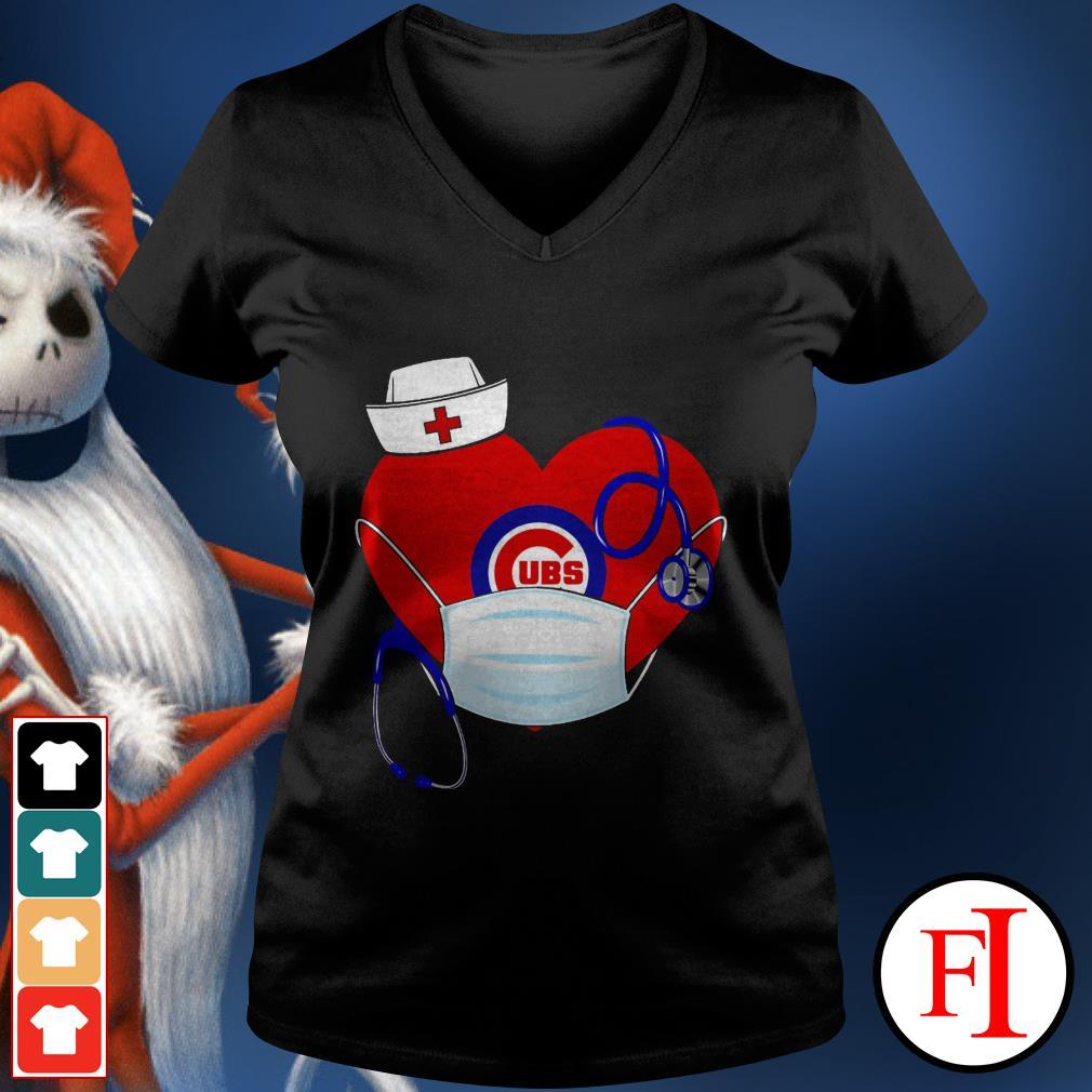 Chicago stethoscope nurse good heart face mask love IF V-neck t-shirt