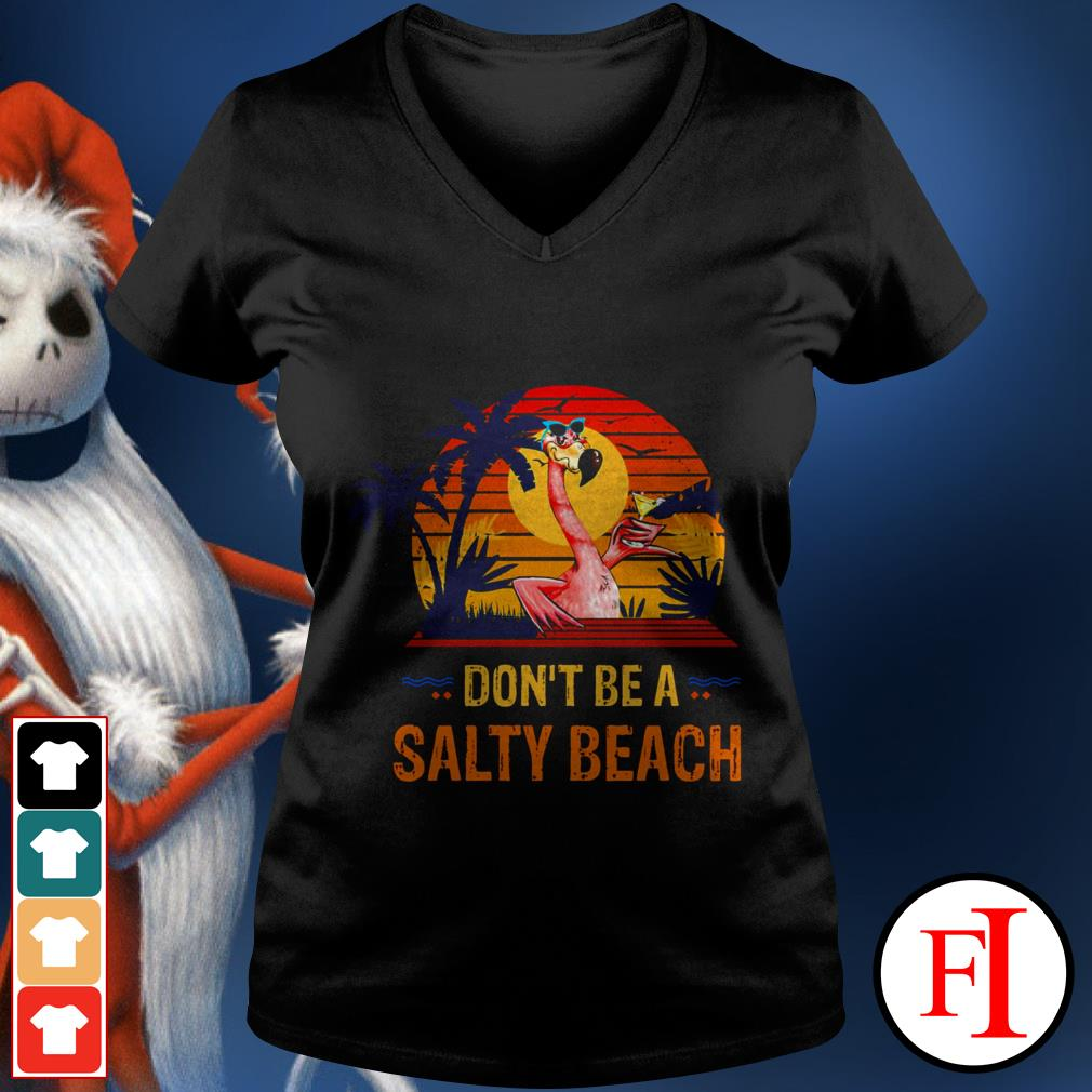 Flamingo don't be a salty beach sunset IF V-neck t-shirt