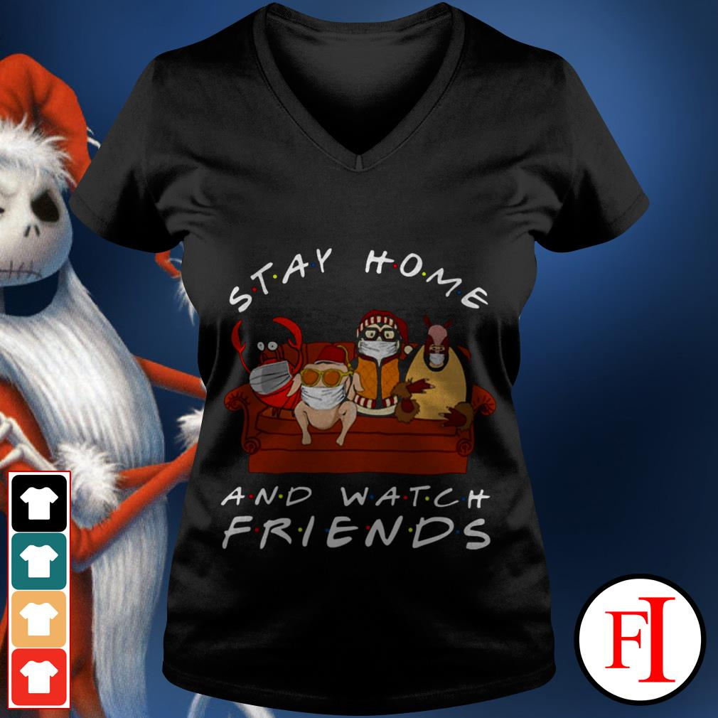 Friends TV show Hugsy Stay home and watch V-neck t-shirt