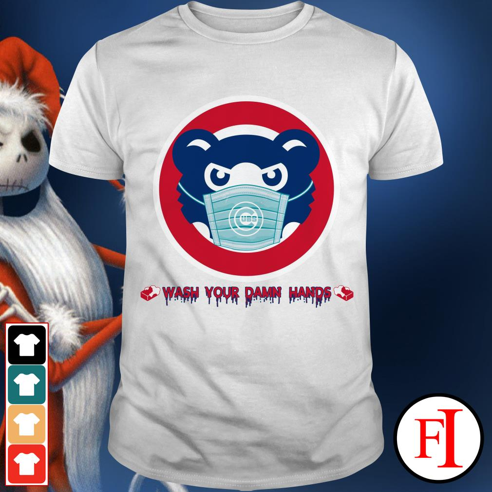 Like Wash your damn hands black Chicago Cubs IF shirt