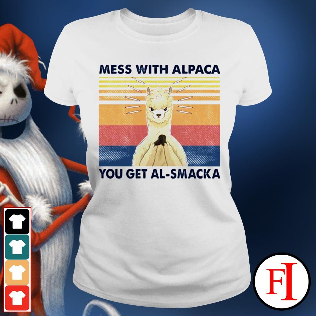 Mess with alpaca you get al-smacka sunset black Ladies tee
