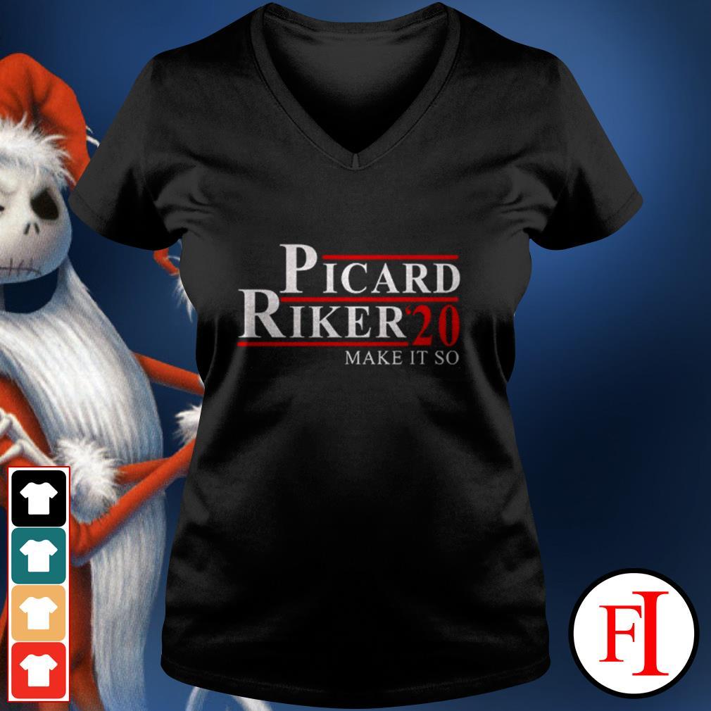 Official Picard Riker'20 make it so love IF V-neck t-shirt