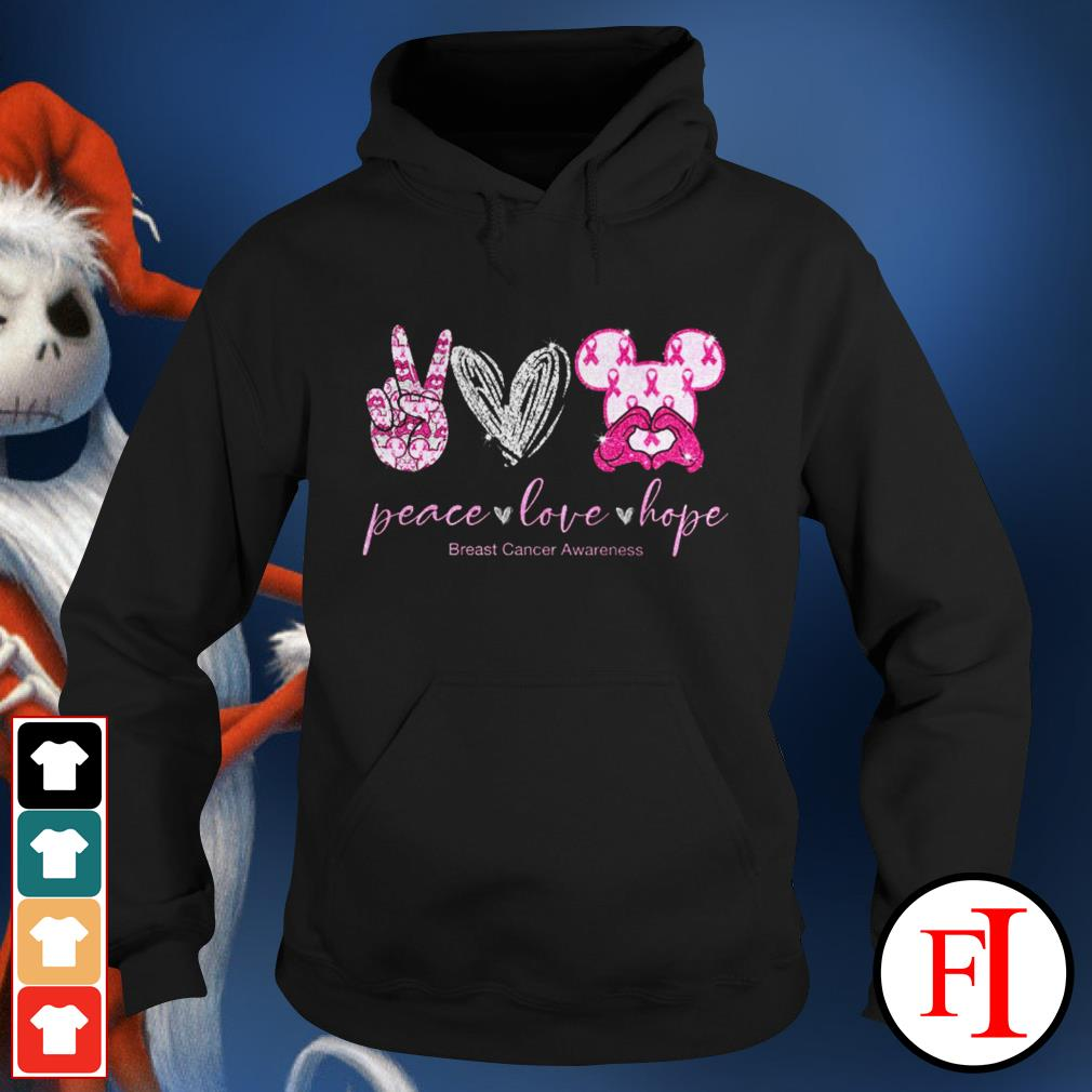 Peace love hope breast cancer awareness Mickey Mouse Hoodie