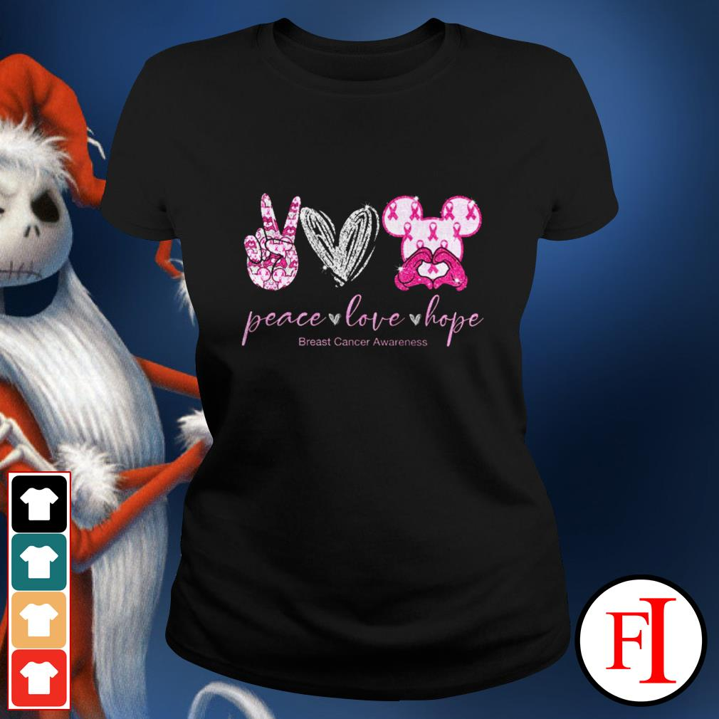 Peace love hope breast cancer awareness Mickey Mouse Ladies tee